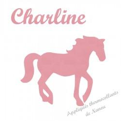 Appliqué thermocollant cheval et prénom fille en flex velours