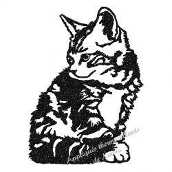 Appliqué thermocollant chat assis noir ou gris en flex pailleté