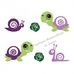 Appliqué thermocollant escargot et tortue mauve