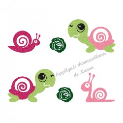 Appliqué thermocollant escargot et tortue rose