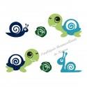 Appliqué thermocollant escargot et tortue bleu pailleté
