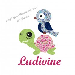 Appliqué thermocollant escargot et tortue liberty fille