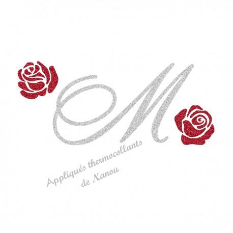 Appliqué thermocollant personnalisé monogramme et roses rouge en flex pailleté