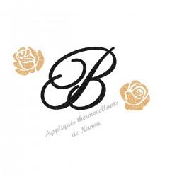 Appliqué thermocollant personnalisé Initiale roses doré en flex pailleté