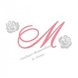 Appliqué thermocollant personnalisé roses argent initiale en flex pailleté