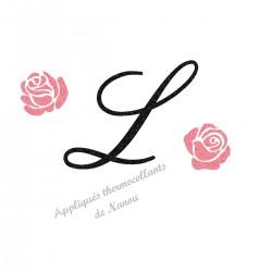 Appliqué thermocollant personnalisé initiale fleur rose en flex pailleté