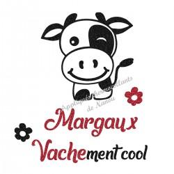 Appliqué thermocollant personnalisé vache cool en flex pailleté