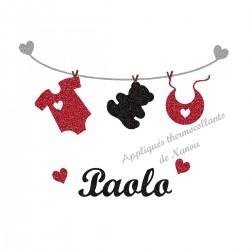 Appliqué thermocollant bébé layette personnalisé flex noir rouge pailleté