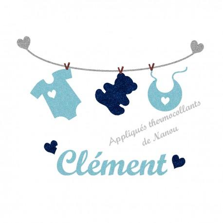 Appliqué thermocollant bébé layette bleu personnalisé flex pailleté