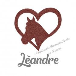 Appliqué thermocollant coeur cheval marron personnalisé flex pailleté