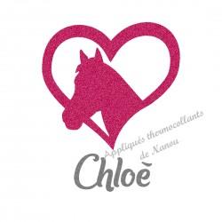 Appliqué thermocollant coeur cheval fushia personnalisé flex pailleté