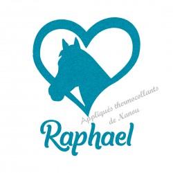 Appliqué thermocollant coeur cheval bleu personnalisé flex pailleté