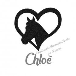 Appliqué thermocollant coeur cheval noir personnalisé flex pailleté