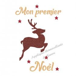 Appliqué thermocollant personnalisé renne marron premier Noël