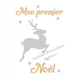 Appliqué thermocollant personnalisé premier Noël renne