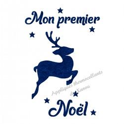 Appliqué thermocollant personnalisé renne couleur premier Noël