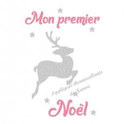 Appliqué thermocollant personnalisé renne argent premier Noël