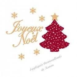 Appliqué thermocollant joyeux Noël sapin rouge en flex pailleté et tissu