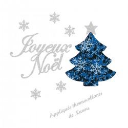 Appliqué thermocollant joyeux Noël sapin bleu en flex pailleté et tissu