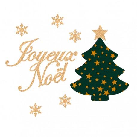 Appliqué thermocollant joyeux Noël sapin vert en flex pailleté et tissu
