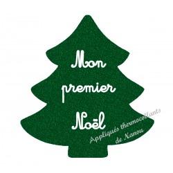 Appliqué thermocollant sapin vert pailleté premier Noël