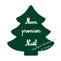 Appliqué thermocollant velours sapin vert premier Noël