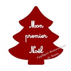 Appliqué thermocollant velours sapin rouge premier Noël