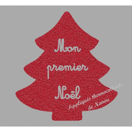 Appliqué thermocollant sapin rouge pailleté premier Noël