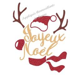 Appliqué thermocollant renne bonnet joyeux Noël en flex pailleté