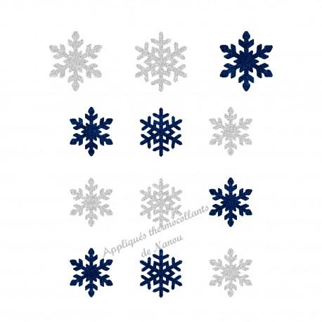Flocons neige Noël bleu appliqué thermocollant flex pailleté