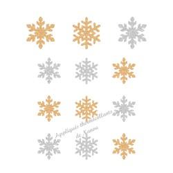 Flocons neige Noël argent doré appliqué thermocollant flex pailleté