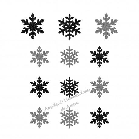 Flocons neige Noël noir duo appliqué thermocollant flex pailleté