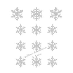 Flocons neige Noël 1 couleur appliqué thermocollant flex pailleté