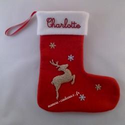 Botte chaussette de Noël personnalisé renne avec prénom
