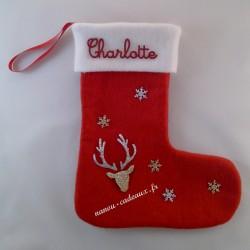 Botte chaussette Noël renne personnalisé avec prénom