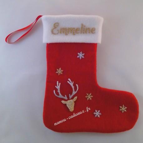 Botte chaussette Noël tête renne personnalisé avec prénom