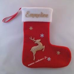 Botte chaussette renne de Noël personnalisé avec prénom