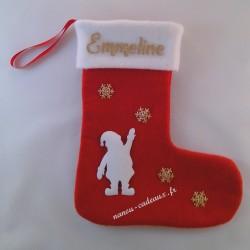 Botte chaussette père Noël personnalisé avec prénom