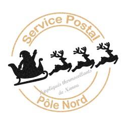 Noël tampon poste Pôle Nord appliqué thermocollant flex pailleté