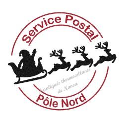 Tampon poste père Noël Pôle Nord en appliqué thermocollant flex pailleté