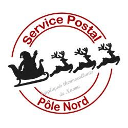 Tampon velours poste père Noël Pôle Nord en appliqué thermocollant
