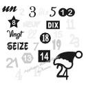 Appliqué thermocollant Noël calendrier de l'avent en flex pailleté
