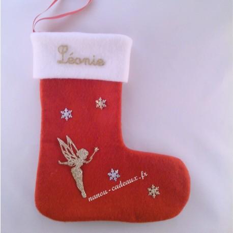 Botte chaussette Noël personnalisée petite fée avec prénom