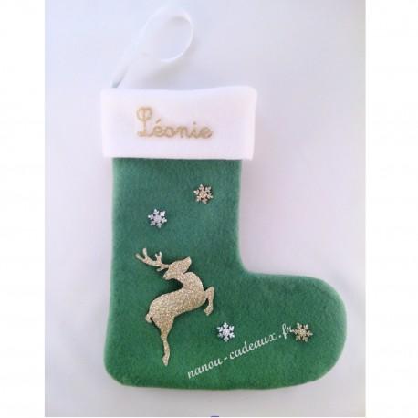 Botte chaussette de Noël verte personnalisé renne avec prénom