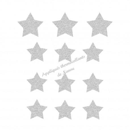 Lot d'étoiles une couleur appliqué thermocollant flex pailleté
