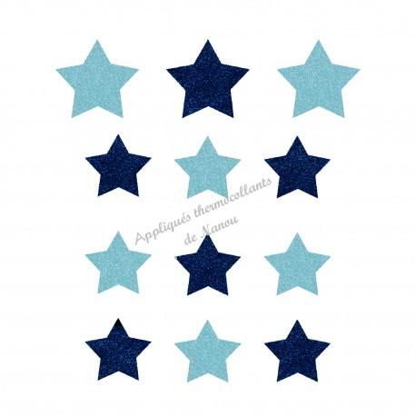 Lot d'étoiles bleu appliqué thermocollant flex pailleté