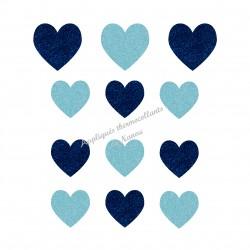 Lot de coeurs duo bleu appliqué thermocollant flex pailleté