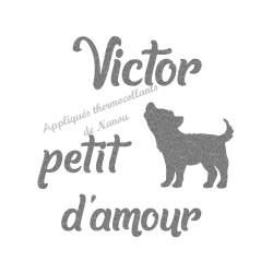Appliqué thermocollant personnalisé petit loup amour en flex pailleté