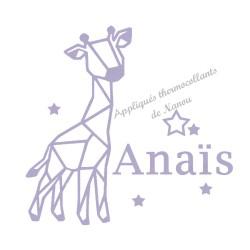 Appliqué thermocollant velours personnalisé girafe origami fille