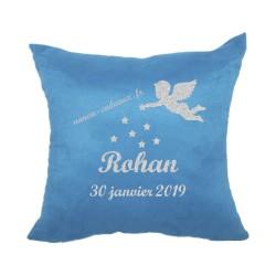 Housse coussin bleu personnalisé de naissance ange en flex pailleté